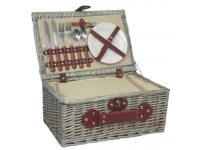 Practical and elegant this Fitted Picnic Hamper Basket is complete with cutlery and plates and suitable for two people. Everything you need to enjoy a stylish picnic, except the food!