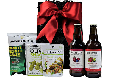 This Cider and Nibbles Gift Set is a delight. Choose your favourite tasty treats to accompany the flavoursome Rekorderlig fruity Swedish ciders and create a perfect gift combination.