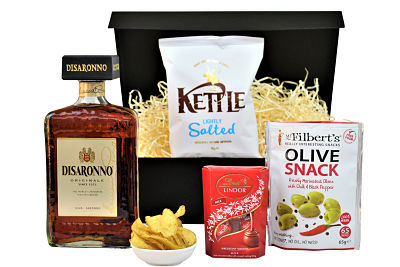 The Disaronno Amaretto Gift Set with its bittersweet amber liqueur. Accompanied by a selection of gourmet nibbles of your choice to create the perfect bespoke hamper.