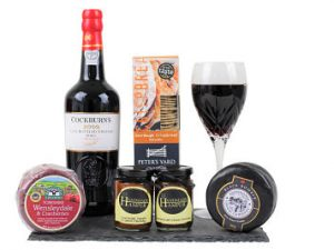 Cheese and Port gift Hamper. Select your port, 2 cheeses and 2 chutneys to make this a personalised gift.