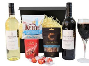 The McGuigan Duo Wine Gift Box contains two award winning bottles. A cabernet Sauvignon and a Chardonnay. Accompanied by Kettle crisps, Mr Filberts nuts and Lind chocolate truffles.