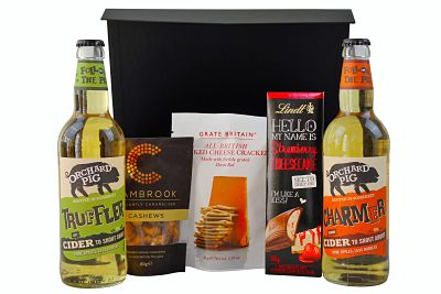 Cider Gift Hamper. Choose the cider and snacks beautifully presented with a gift message and UK delivery.