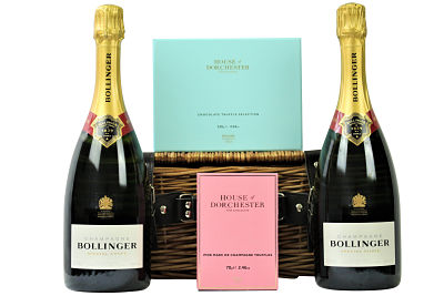 Choose two bottles of your favourite champagne from our exquisite range to accompany our luxurious sumptuous chocolate selections from House of Dorchester. Presented in a traditional willow gift hamper making a very generous gift to please any discerning recipient.