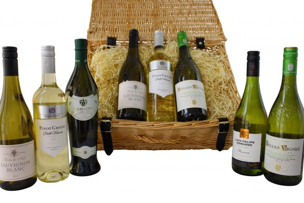 A white wine gift hamper containing 3 bottles of white wine. Select your favourite 3 bottles and we'll present them beautifully with a complimentary gift message.