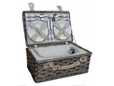 White Fitted Picnic Hamper Basket