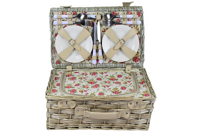 The Rose Picnic Hamper contains all you need for that perfect deluxe picnic treat. Antique wash willow basket with built in chiller insert. Pretty internal rose material hosting a range of crockery, cutlery and glasses for four people.