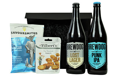 Say hello to the Brewdog Gift Set.  Two large bottles of the iconic Brewdog brews, Punk IPA and Lost Lager to accompany some luxurious nibbly treats.  Beer like its meant to taste!