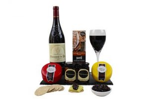 A Cheese and Red Wine Gift hamper. Choose your own cheeses and wine from an award winning range to make this a more personal gift.