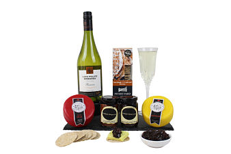 Cheese and White Wine Hamper. Select your own cheese, chutneys and wine to make this a more personal gift.