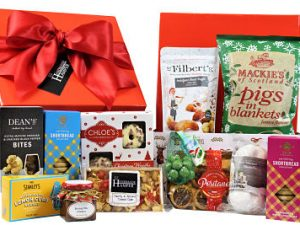 Spoil your loved ones and friends with the delicious treats filled inside the We Three Kings Christmas Gift Hamper.  A Christmas themed box filled to the brim with our festive favourites.  Chutney, crackers, biscuits nuts, cake and lots more.  A Christmas gift to delight the whole family.
