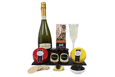 Cheese & Prosecco Gift Hamper. Choose from award winning cheeses and add chutneys and a bottle of your liking.
