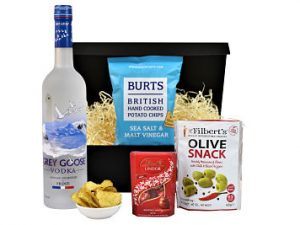 Make your own bespoke gift with the Vodka and Nibbles Gift Set.  Choose the our preferred make of premium vodka to accompany three delicious nibbles of your choice. A gift to celebrate any occasion.