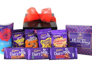Cadbury's Chocolate Gift Box which includes Cadbury Milk Tray 360g Cadbury Roses 187G Cadbury Twirl Bites 109g Cadbury Dinky Deckers 120g Cadbury Caramel Nibbles 120g Cadbury Crunchie Rocks 110g Cadbury Dairy Milk Whole Nut Bar 120g Cadbury Dairy Milk Plain Bar 110g Cadbury Dairy Milk Fruit and Nut Bar 110g