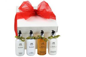 Bath Gift for Her. Beautiful luxury bath products H2k Spa Lifestyle Luxury Hair Conditioner 250ml x 1 H2k Spa Lifestyle Revitalising Shampoo 250ml x 1 H2k Mischief Bath and Shower Gel with Aloe Vera 250ml x1 H2k Mischief Calming Soothing Hand & Body Lotion 250ml x 1