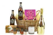 Couples gift basket, contains prosecco, beer and beauty products for the perfect couples gift they'll both love.