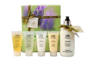 Skincare gift box containing H2k Sensual Hand and Body Lotion 250ml x 1 H2k Sensual Hand and Body Lotion 40ml x 1 H2k Sensual Conditioning Shampoo 40ml x 1 H2K Sensual Hair Conditioner 40ml x1 H2k Sensual Bath and Shower Gel 40ml x 1