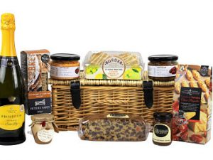 Picnic Hamper complete with food ready to go. Choice of alcohol or non alcoholic drink.
