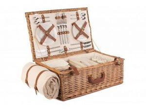 Deluxe Cream Fitted Picnic Hamper Basket