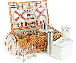 The Deluxe Wiltshire Picnic Hamper contains all you need for that perfect deluxe picnic treat. Willow picnic basket with cream insert and tan leather fastenings. Cups, plates, glasses, cutlery, flask, blanket and more!