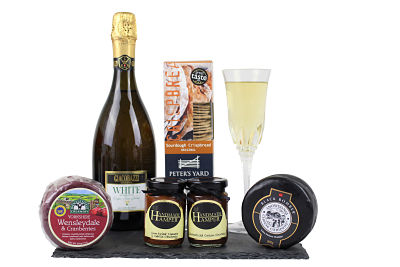 Cheese Gift Hamper that includes alcohol free wine