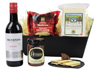Choose from Award Winning Cheese, Chutney and a bottle of your choice to make a bespoke Cheese and Wine gift tray