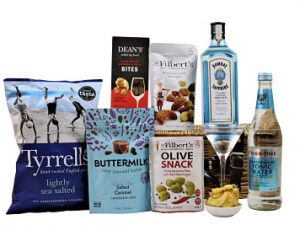 The Gin Gift Hamper is filled full of sumptuous treats to accompany a bottle of gin and mixer of your choice. Choose your favourite flavours of olives, nuts, sweets and crisps to accompany a Fever-Tree mixer and your favourite bottle of gin. Presented in a willow gift hamper this will definitely be a gift to be enjoyed.