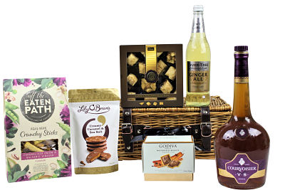 Brandy Gift Hamper. A bottle of your preferred make of brandy to accompany a mixer and a selection of crisps, chocolate and sweet treats.