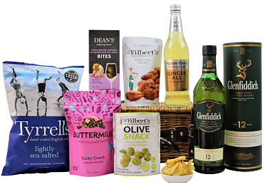 The Whisky Gift Hamper is filled full of delicious treats to accompany a bottle of your preferred Whisky and Fever-Tree mixer. Presented in a willow gift hamper we have included an array of delicious treats. Just pick your favourite flavours and make this bespoke gift one to impress.