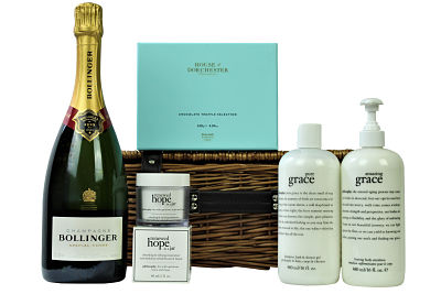 Give an exceptional pampering gift to someone special in your life with the Luxurious Pamper Gift Basket. Pampering skin care products from the Philosophy Amazing Grace and Pure Grace range along with Renewed Hope in a Jar facial moisturiser. Luxurious House of Dorchester chocolates and a bottle of sparkling bubbles make this gift basket complete. An amazing luxury pampering gift anyone would love to receive.