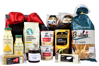 The Breakfast Box beholds some tasty delights. Starbucks Espresso Arabica coffee. Twinings Tea, Valencian pure squeezed orange juice from Folkington's. Quaker porridge oats, croissants, muffins and more.