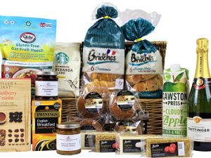This Breakfast Gift Hamper Basket beholds some tasty delights. Starbucks 100% Arabic ground coffee. Award Winning Twinings English breakfast tea. Belberry Royal preserves. Valencian pure squeezed orange juice from Folkington's. Quaker Porridge oats, croissants, muffins and more. Add a bottle of sparking bubbles to make this gift an extra special morning treat.