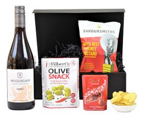 Choose your preferred bottle of Award Winning wine to compliment delicious selection of hand picked nibbles to create the perfect gift within the Wine and Nibbles Gift Box .