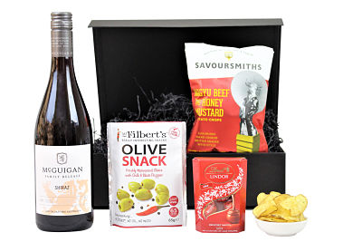 Choose your preferred bottle of Award Winning wine to compliment a delicious selection of hand picked Award Winning nibbles. Delights from Savoursmiths luxury crisps, Mr Filbert's really interesting olives and nuts, Lindt chocolates are to name but just a few, allowing you to create the perfect gift within the Wine and Nibbles Gift Box.
