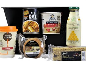 Looking for a breakfast gift that's a little bit quirky and different from all the rest then the Breakfast To Go Box is just right for you. A hearty feast with a cooked breakfast in a tin, coffee, fresh orange juice, blueberry muffin and a fruity flapjack.