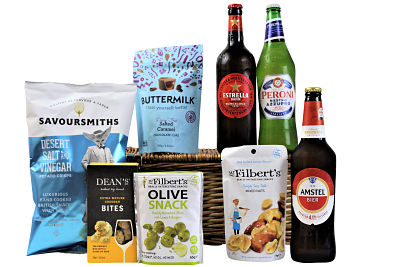 The Beer Gift Basket is filled full of sumptuous treats to accompany three large bottles of beer. Select your favourite flavours of olives, nuts, sweets and crisps to accompany an these prestigious beers from Amstel, Peroni Nastro Azzurro and Estrella Damm. Presented in a willow gift hamper this will definitely be a gift to be enjoyed.