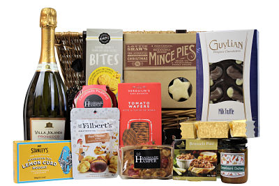 Add a touch of Christmas Cheer to your festivities this year with the Christmas Cheer Gift Basket. Nestled inside this willow gift basket we have filled it full of delicious treats. Mice pies, cake, Christmas pudding, savoury snacks and lots more. Add your preferred flavour of pate, chutney and a bottle of your choice to make this a lovely bespoke personal gift this Christmas time.