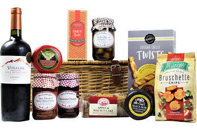 The Ploughman's Feast Gift Hamper is the ideal gift for for any discerning cheese lover. Choose from the Award Winning Cheshire Cheese Co, cheese truckles to accompany our selection of Mrs Darlington's chutney and pickles and other sensational treats. Finish your selection with a bottle of something special to tantalise your taste buds.