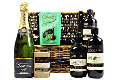 The Goodness Pampering Gift Basket beholds a collection of well being organic pampering treats, the lemongrass and ginger stimulates the senses and with extracts of orange and black pepper proven to uplift and rejuvenate the body and mind.  Add a bottle of your favourite tipple and indulge in a sumptuous box of Lindt chocolates truffles within this gift basket whilst the goodness sweeps over your senses.