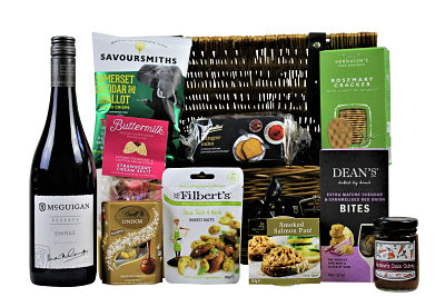 The Cambridge Gift Basket is an excellent way to send a basket of thought to someone special. Presented in a willow gift basket we have included a selection of smaller delicious treats to accompany a bottle of your choosing.