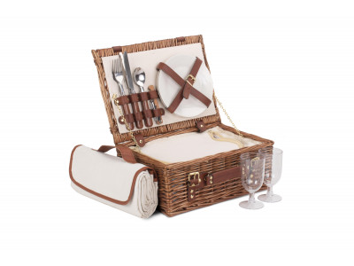 If you are planning to go on a picnic with your loved one, be sure to grab the this fitted hamper basket. This fabulous picnic hamper offers enough space to carry delicious treats for two picnickers. Elegant and stylish this handcrafted light steamed willow hamper basket complete with its internal chiller compartment is perfect to keep your food and drink fresh on those warm summer days. This fitted basket comes complete with its own matching picnic blanket, wood effect cutlery,  porcelain plates, acrylic glasses and even a bottle opener!