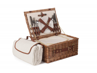 What a delightful way to spend time with family than a perfect picnic. This fabulous picnic hamper basket offers enough space to carry delicious treats for four picnickers. Elegant and stylish this handcrafted light steamed willow hamper basket complete with its internal chiller compartment is perfect to keep your food and drink fresh on those warm summer days. This fitted basket comes complete with its own matching picnic blanket, wood effect cutlery,  porcelain plates, acrylic glasses and even a bottle opener!