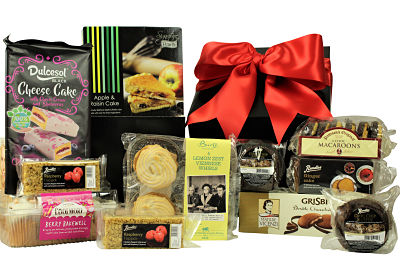 The Bakery Treats Gift Box is filled to the brim with a delicious selection of cakes, biscuits, sweet delights. The luxury lemon zest Viennese whirls from Burts are the perfect elevenses whilst the apple and raisin tart is just right for an afternoon treat. Botham's of Whitby plum bread, Patteson's chocolate macaroons and a traditional spiced ginger cake are just a taste of the magnificent content within this gift. Presented in a black box and finished with a red ribbon, this gift has something to tempt the whole family is the perfect gift for any occasion.