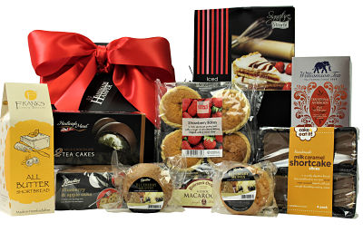 This Bakery Treats Gift Box is filled to the brim with a delicious selection of cakes, biscuits, sweet delights and Williamson Afternoon Tea. The luxury Award Winning shortbread, handmade caramel shortcake, Bakewell tart to name but a few. Presented in a black box and finished with a red ribbon, this gift has something to tempt the whole family is the perfect gift for any occasion.