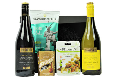 First Cape Sauvignon Wine Duo beholds an elegant and spicy Special Cuvee red wine and a wonderfully crisp and refreshing Special Cuvee white. Enjoy this Sauvignon duo with our deliciously tasty delights and make this an extra special gifting treat.