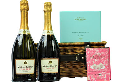 Choose two bottles of your favourite prosecco from our elegant range of sparkling bubbles to accompany our luxurious sumptuous chocolate selections from House of Dorchester. Presented in a traditional willow gift hamper making an exceptional gift for any occasion.