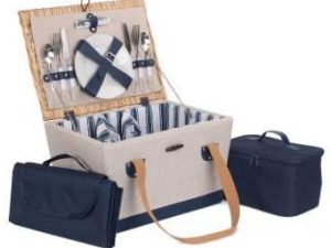 Looking for something a little bit different then the Nautical Fitted Picnic Basket could be perfect for you.  A delightful beige and blue fabric basket with a full willow lid beholds all of the essentials for the perfect picnic for two people.  Add your food to the cooler bag and grab the picnic blanket and you are all set to go!