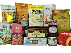 If you are looking for a Gluten Free Food Gift Basket then we have created the perfect hamper just for you.  Filled to the brim with tasty delights which are all suitable for a Gluten Free diet. Flower & White lemon meringue bites, Olina's wafer crackers, Mezete roasted pepper hummus, Rendles Duck pate, Mrs Darlington's tasty chutney and lots more.  A gift to certainly delight its recipient.