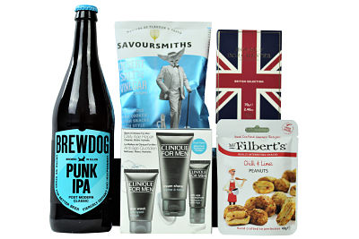 Spoil the man in your life with the Clinique Pamper Gift For Him. The Clinique facial set provides a custom fit formula of travel sized skin care products, we have then added a luxurious box of chocolates from the House of Dorchester. The Brewdog Punk IPA is the perfect accompaniment to the Savoursmiths luxury crisps and Mr Filberts really interesting nuts. Presented in a stylish black lidded box we have hidden away a perfect pampering treat suitable for any occasion.