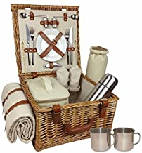This superb Deluxe Fitted Picnic Hamper for 2 is apremium hamper which will ensure picnic joy year after year. The basket beholds all you require for a magnificent picnic for 2 people. A soft, fluffy fleece blanket, stainless steel cutlery, stainless steel cups within their own basket, porcelain plates and crisp cotton napkins. There is a flask for your drinks and a cooler bag to ensure your treats arrive in perfect condition. Elegantly crafted this basket will bring picnic envy from your fellow picnickers.