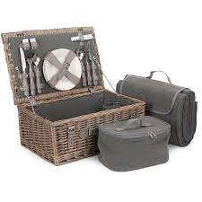 The Grey Tweed Fitted Picnic Basket is the perfect companion for a delightful picnic for two. With a full antique wash willow basket and matching grey faux leather straps, this basket is not only stylish but practical with its removable chiller compartment for all your tasty picnic treats. Sit comfy on the complimentary grey tweed blanket whilst you dine in style using your grey handled cutlery, glasses and porcelain plates.